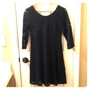 Blue Lace Long Sleeve Dress